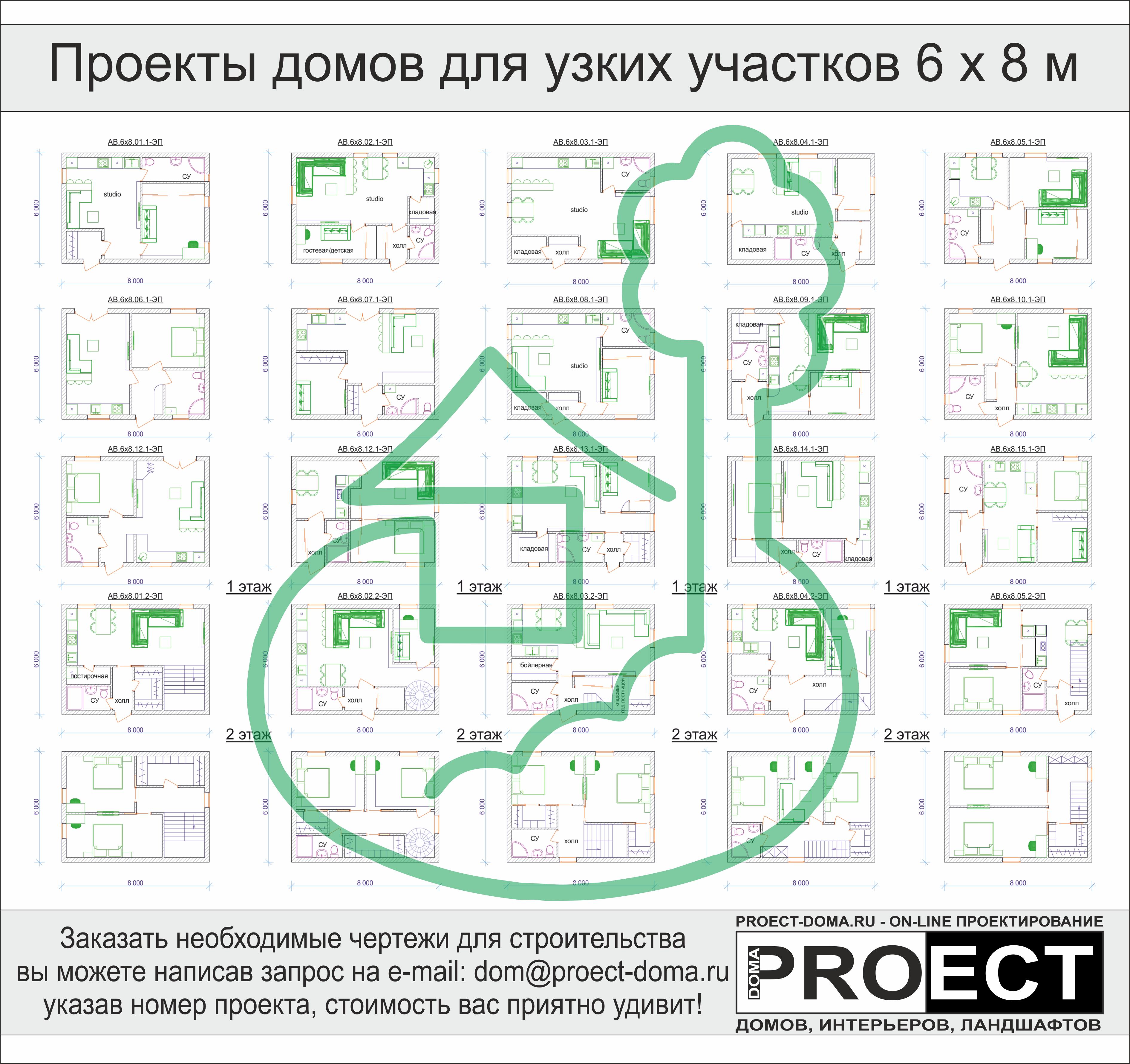 Проект дома для узкого участка - готовые планировочные