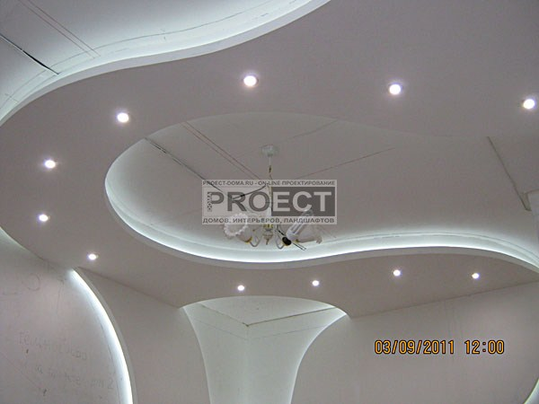 отделочные работы потолок с подсветкой