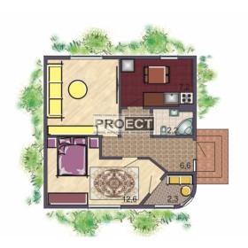 Проект одноэтажного кирпичного жилого дома с шикарным садом