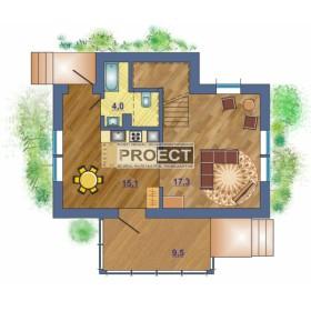 Проект мансардного дома с террасой является идеальным решением для небольшой семьи