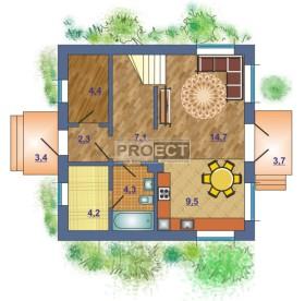 Дом с мансардой для небольшой семьи с красивым ландшафтом