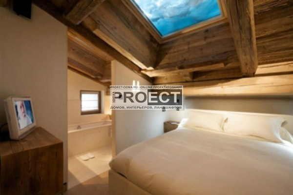 шале в Альпах   спальня в шале
