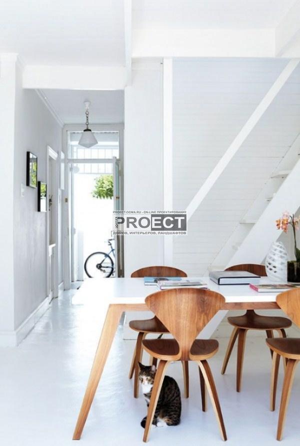 современный дом | белая столовая